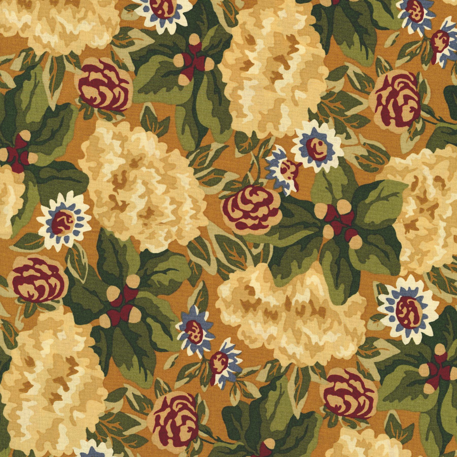 2753-002 Autumn Landscape - Harvest Garden - Gold Fabric   RJR Fabrics