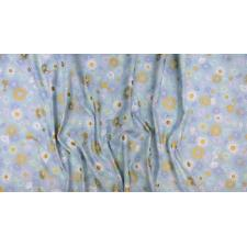 FF501-OP4M Shiny Objects - Good as Gold - English Daisies - Opal Metallic Fabric 3