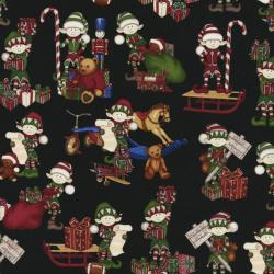 2322-003 Holly Jolly - North Pole - Coal Fabric