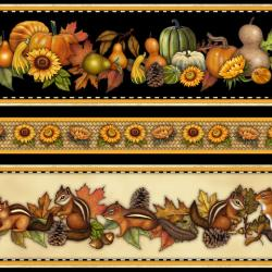 2344-002 Shades Of Autumn - Fall Border - Black/Cream Fabric