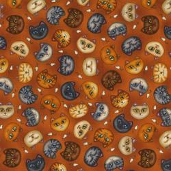 1915-002 Wild Cats - Cat Faces - Rust Fabric