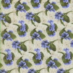 1446-003 Lovely - Spaced Floral - Natural/Blue Fabric
