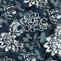 3349-003 Blossom Batiks - Sakura - Peonies - Night Breeze Batik Fabric