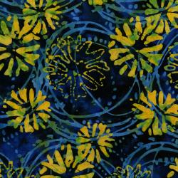 3143-004 Blossom Batiks - Valley - Floating Flowers - Marigold Batik Fabric
