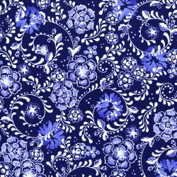 2947-002 Daisy Blue - Fine Flourish - Delft Fabric