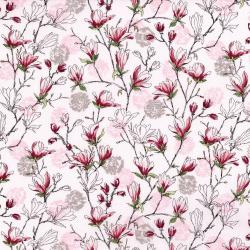 3252-002 Serene Spring - Budding Blossoms - Pearl Pink Metallic Fabric