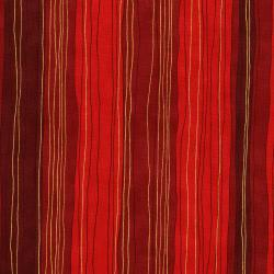 3023-005 Shiny Objects - Holiday Twinkle - Sterling Stripe - Scarlet Metallic Fabric