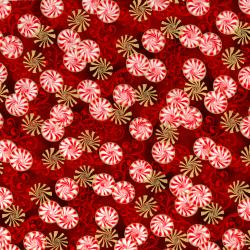 2788-001 Suite Christmas - Pepperment Twist - Red Velvet Metallic Fabric