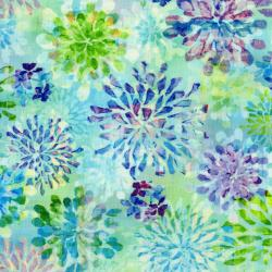 3340-001 The Paper Garden - Transparent Petals - Sea Glass Digiprint Fabric