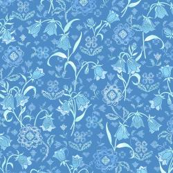 FF200-TR1M Blue Belle - Vintage Linen - True Blue Metallic Fabric