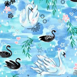 3601-001 Enchanted Lake - Waltz in the Willows - Aqua Metallic Fabric
