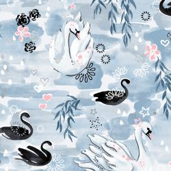 3601-002 Enchanted Lake - Waltz in the Willows - Mist Metallic Fabric