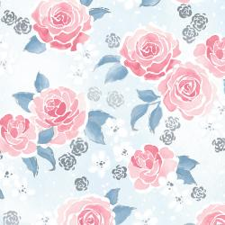 3602-002 Enchanted Lake - Floating Floral - Frost Metallic Fabric