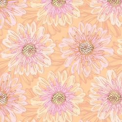 FF500-RO2M Shiny Objects - Good as Gold - Embossed Blooms - Rose Gold Metallic Fabric