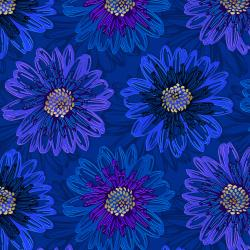 FF500-SA3M Shiny Objects - Good as Gold - Embossed Blooms - Sapphire Metallic Fabric