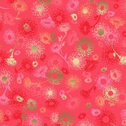 FF501-LI1M Shiny Objects - Good as Gold - English Daisies - Lipstick Metallic Fabric
