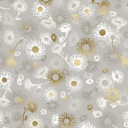 FF501-PE6M Shiny Objects - Good as Gold - English Daisies - Pebble Metallic Fabric