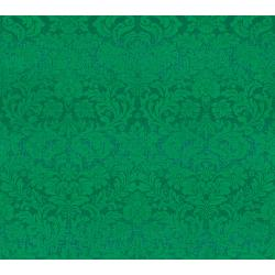 FF403-PI2M Shiny Objects - Holiday Twinkle 2 - Dazzling Damask - Pine Metallic Fabric