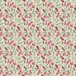 JM110-RI7 Branching Out - Red on Ivory Fabric