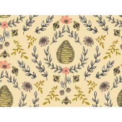 JM203-HO1M Summer in the Cotswolds - Beehive - Honey Metallic Fabric