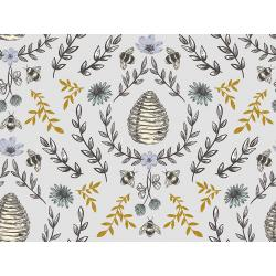 JM203-SL2M Summer in the Cotswolds - Beehive - Sweet Lavender Metallic Fabric