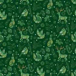 JM100-SP3M Winter Dreams - Winter Gathering - Spruce Metallic Fabric