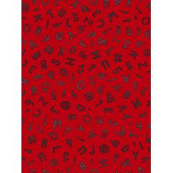 JF301-FL1M Heavy on the Metal - Typewriter Keys - Flaming Red Metallic Fabric