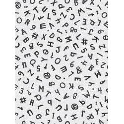 JF301-SI3M Heavy on the Metal - Typewriter Keys - Silver Metallic Fabric