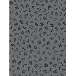 JF301-ST2M Heavy on the Metal - Typewriter Keys - Steel Metallic Fabric