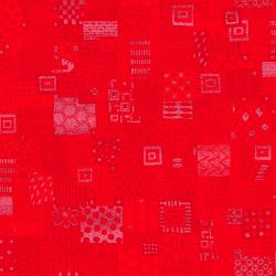 JF305-FL1M Heavy on the Metal - Rebel Quilter - Flaming Red Metallic Fabric