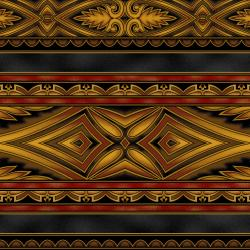 5396-010 Border Basics - Kalimantan - Bronze Fabric
