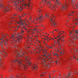 2976-006 Malam Batiks IV - Floppy Floral - Red Batik Fabric