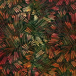 3281-004 Malam Batiks V - Fireworks - Orange Green Batik Fabric