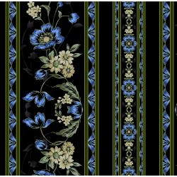 3415-001 Midnight Garden - Border - Blue Fabric