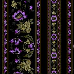 3415-003 Midnight Garden - Border - Violet Fabric