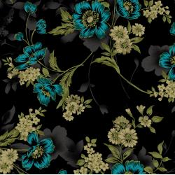 3416-002 Midnight Garden - Large Floral - Teal Fabric