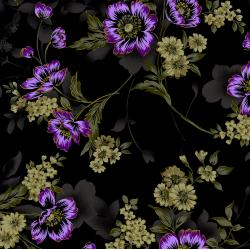 3416-003 Midnight Garden - Large Floral - Violet Fabric