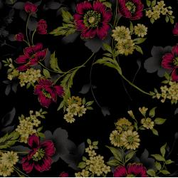 3416-004 Midnight Garden - Large Floral - Red Fabric