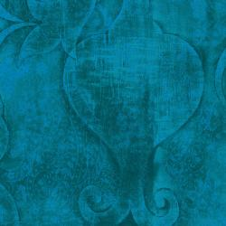 3417-002 Midnight Garden - Embossed - Teal Fabric