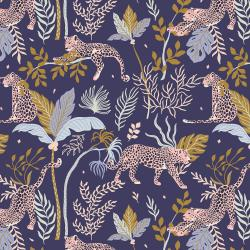 JD100-NA1 Magic of Serengeti - Leopard - Navy Fabric