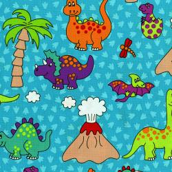 3129-001 Dino Daze - Dino - Teal Fabric