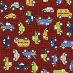 3403-001 Traffic Jam - Cars - Red Fabric