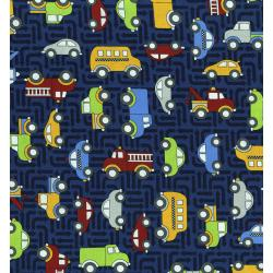 3403-002 Traffic Jam - Cars - Dark Blue Fabric