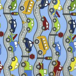 3404-001 Traffic Jam - Roads - Blue Fabric