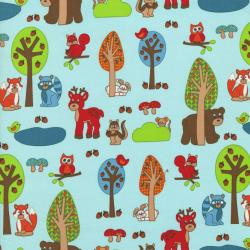 2207-001 Woodland Park - Forest Friends - Multi/Teal Fabric