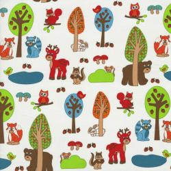 2207-002 Woodland Park - Forest Friends - Multi/White Fabric