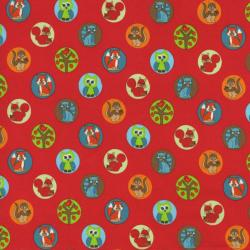 2208-001 Woodland Park - Chipmunk & Friends - Red Fabric