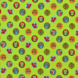 2208-004 Woodland Park - Chipmunk & Friends - Green Fabric