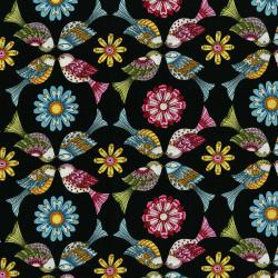 3243-002 Lori's Art Garden - Garden Birds - Black Fabric