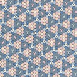 2674-002 My Heart's At Home - I Love Hexagons - Storm Blue Fabric